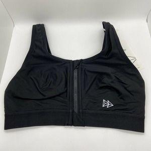 Yvette Black Zip Front Running Sports Bra